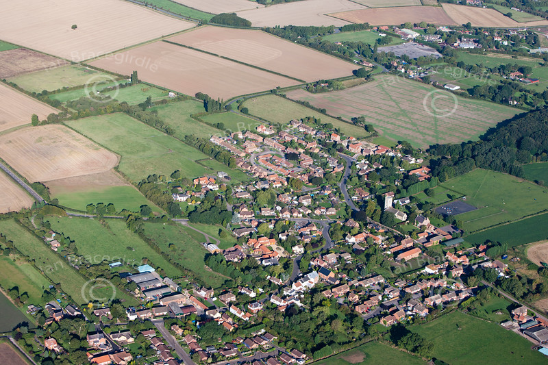 An aerial photo of Cottam.