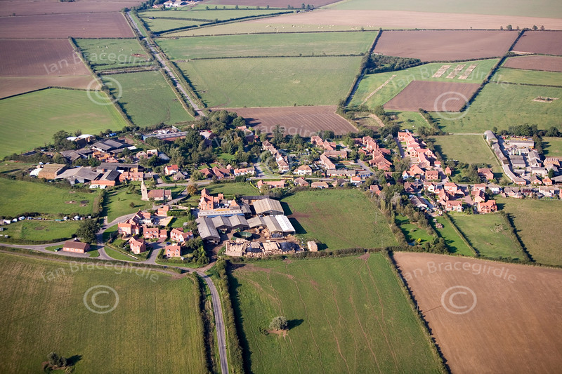 Dry Doddington in Nottinghamshire from the air.