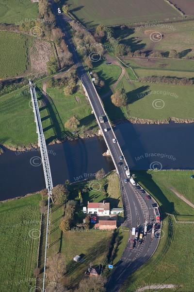 Aerial photo of Dunham on Trent toll bridge.