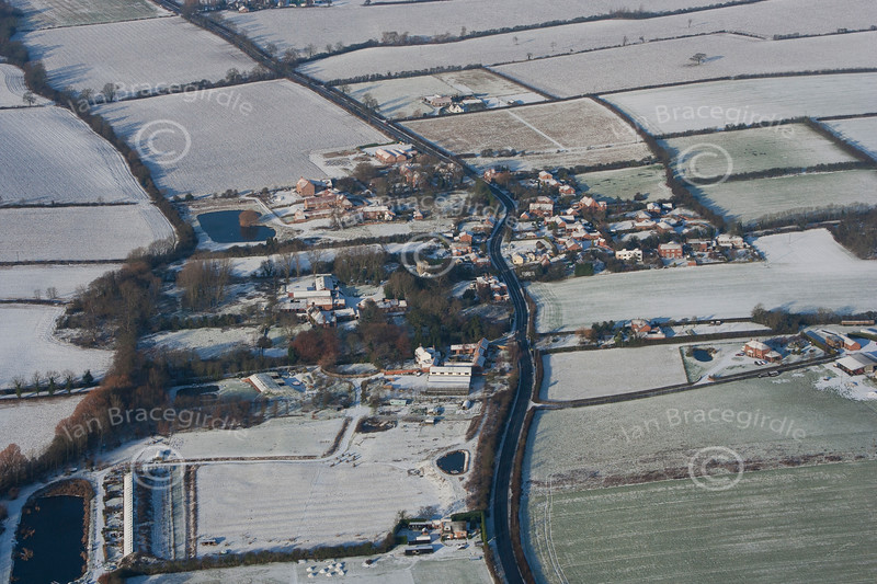 An aerial photo of Hockerton village in Nottinghamshire after snow fall.