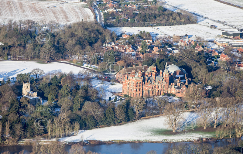 Aerial photo of Kelham in the snow.