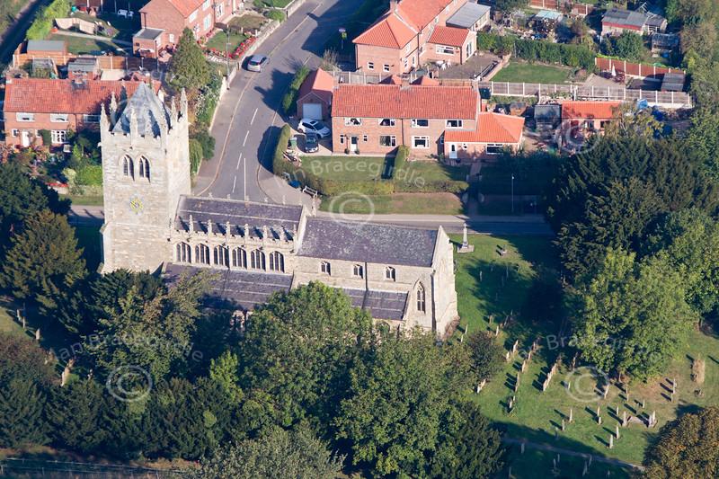 Aerial photo of Laxton Church.