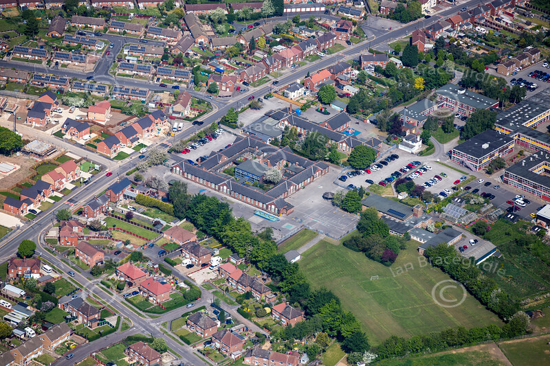 An aerial photo of the Whinney Lane in Ollerton.