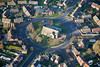 An aerial photo of St. Paulinus Church in Ollerton, Nottinghamshire.