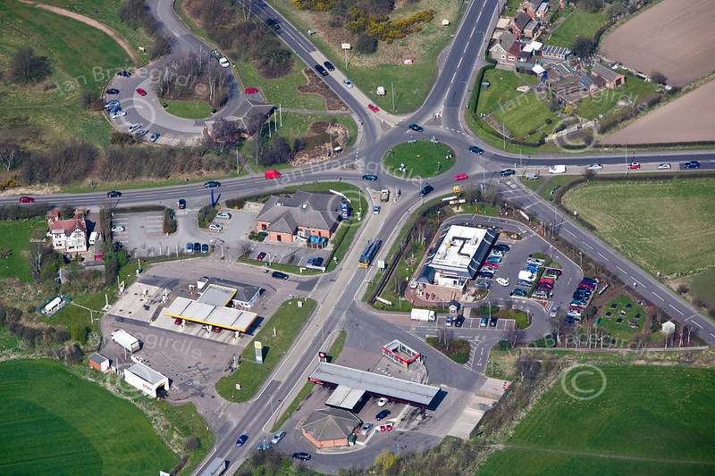 An aerial photo of Ollerton roundabout in Nottinghamshire.