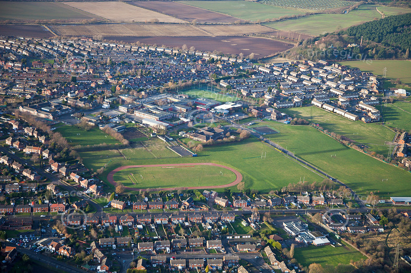 An aerial photo of the Dukeries School in Ollerton, Nottinghamshire. Ollerton from the air.