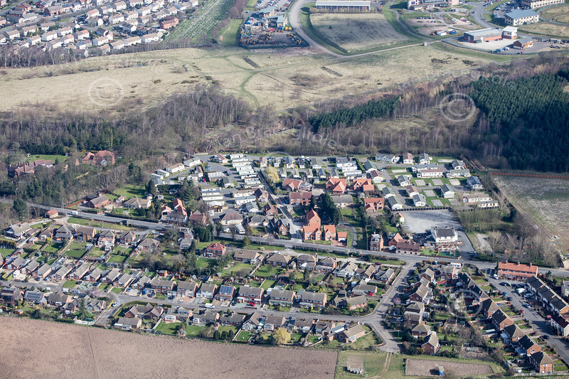 Ollerton from the air. An aerial photo of Ollerton in Nottinghamshire.