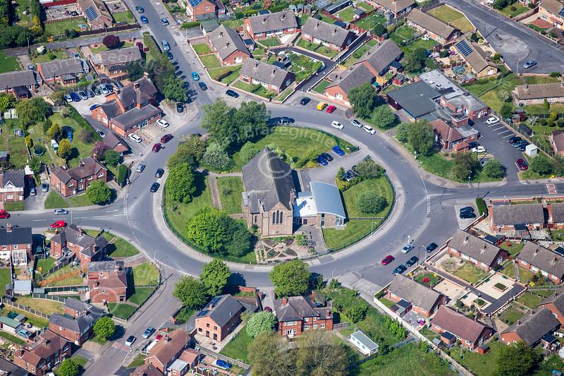 Aerial photo of St. Paulinus Church in Ollerton.
