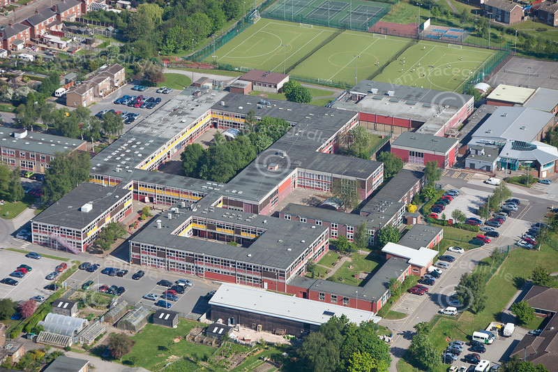 An aerial photo of the Dukeries School in Ollerton, Nottinghamshire.