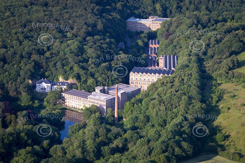 Aerial photo of Pleasley Vale near Mansfield in Nottinghamshire.