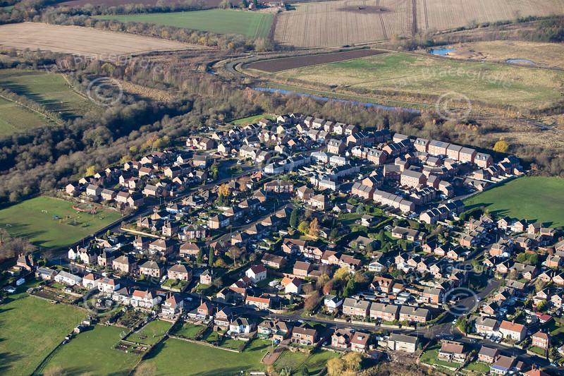 Aerial photo of Pleasley near Mansfield in Nottinghamshire.