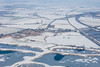Aerial photo of South Muskham village in Nottinghamshire after snowfall.