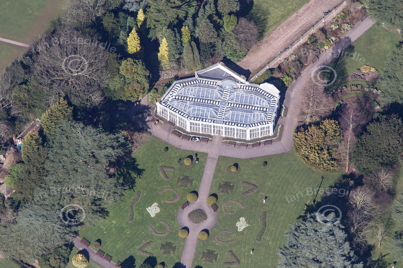 An aerial photo of Camellia House near Wollaton Hall in Nottingham. Camellia House is the oldest cast-iron glasshouse in Europe.