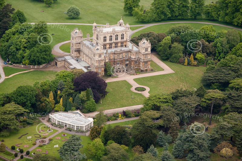 An aerial photo of Wollaton Hall in Wollaton Park in Nottingham.