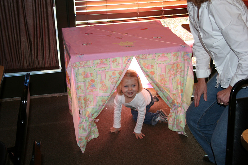 Carolyn totally digging her new tent that Grandma Caryl made