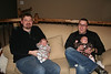 Brandon with Brett and Gretchen's baby Jack, and Ross with his little Cora