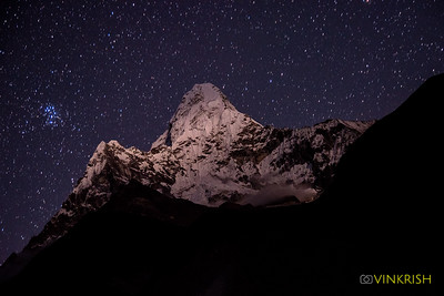 The beauty of Ama Dablam glows in the night