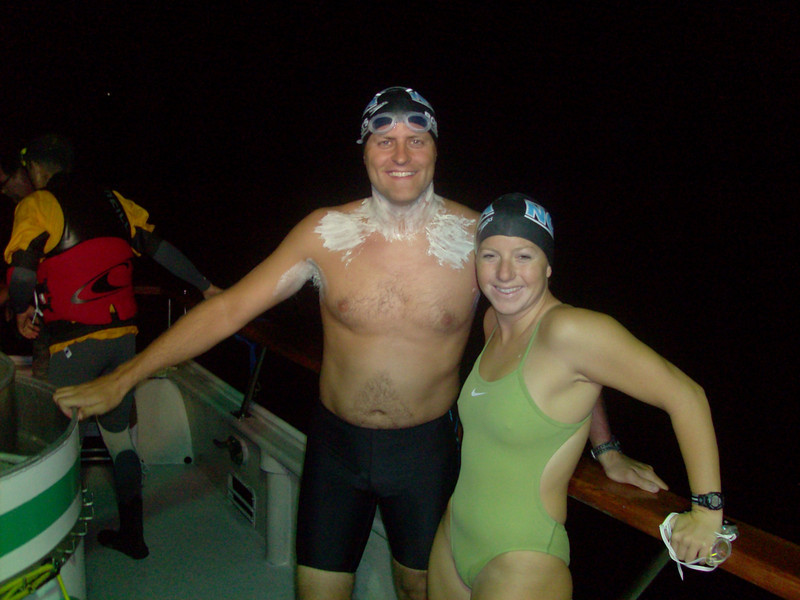 Chris Roberts greased and ready to start the swim from Catalina to the California Coast! <br /> Nova Jen Schumacher swam the first 2 hours with Chris as pace swimmer in training for her own crossing next year.