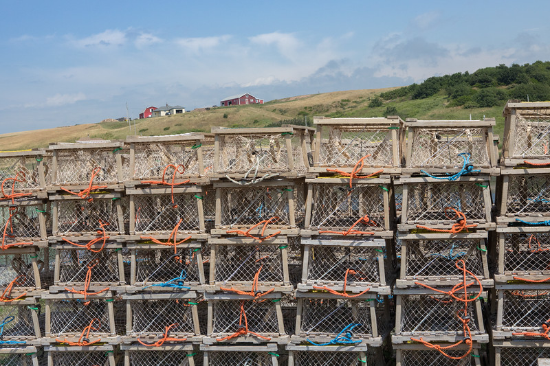 Lobster Traps stored along the Cabot Trail south of Cheticamp