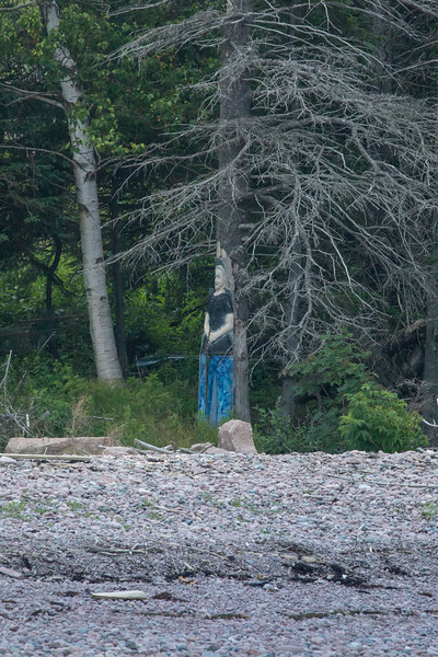 Mystery carving spotted along shore of St Ann Harbour on Cape Breton