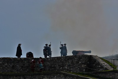 Firing the cannon, Fortress of Louisbourg.