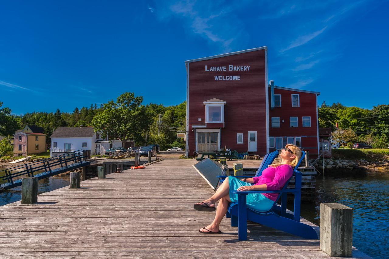 Enjoying the sun in Lahave, Nova Scotia.