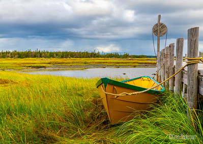 Yellow boat on the marsh