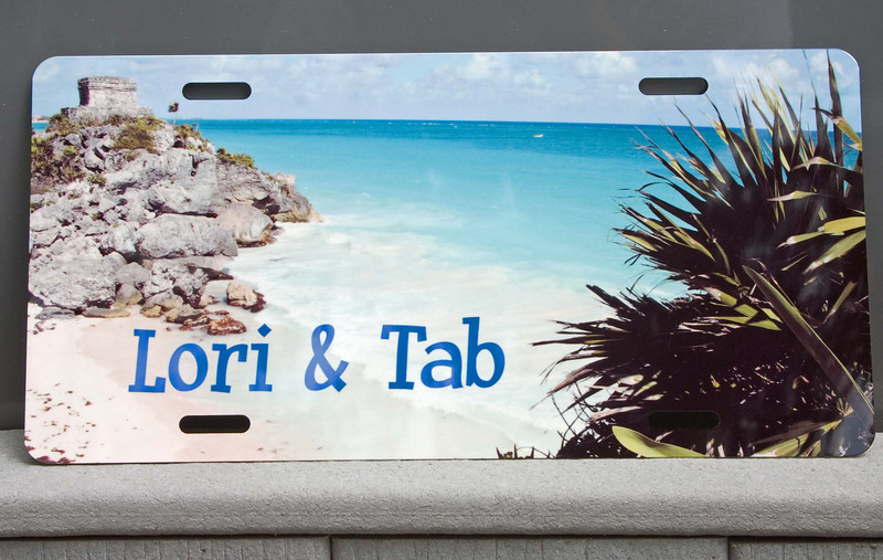 Example of customized novelty license plate...popular on golf carts and RV's