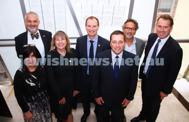 11-11-14. Liberal member for Caulfield David Southwick along with State Planning minister Matthew Guy were at the Jewish Holocaust Centre to announce new funding for UJEB, JHC and schools security. Southwick and Guy pictured here with representatives from the organisations. From left: Nechama Bendet, Sam Tatarka, Marlo Newton, David Southwick, Mattew Guy, Alan Goldstone, Clem Newton-Brown. Photo: Peter Haskin