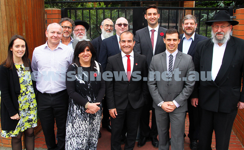 11-11-14. Labor candidate for Caulfield Josh Burns along with deputy leader of the opposition James Merlino were at Beth Rivkah Ladies College to announce new funding for Jewish schools. Burns and Merlino pictured here with representatives from the schools. From left: Amy Hershen, Mark Harrison, Alan Goldstone, Prof Israel Herschberg, Nechama Bendet, Rabbi Yossi Fromer, Len xxxxxxxx, James Merlino, Josh Burns, Neil Pharaoh (Labor candidate for Prahran), David Fisher, Michale Goldhersch. photo: Peter Haskin