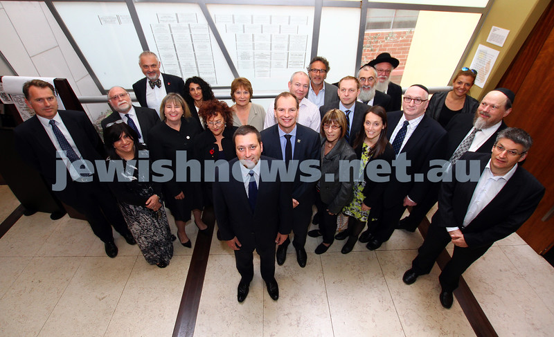 11-11-14. Liberal member for Caulfield David Southwick along with State Planning minister Matthew Guy were at the Jewish Holocaust Centre to announce new funding for UJEB, JHC and schools security. Southwick and Guy pictured here with representatives from the organisations.  Photo: Peter Haskin