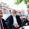 21-11-14. State Oppostion leader Daniels Andrews (right) and deputy James Merlino talking with ZCV president Sam Tatarka (centre) opposite Parliament House. Andrews explaining the oppostions pledge of a grant to up grade security at the beth Weizmann Community Centre if they win the state election. Photo: Peter Haskin