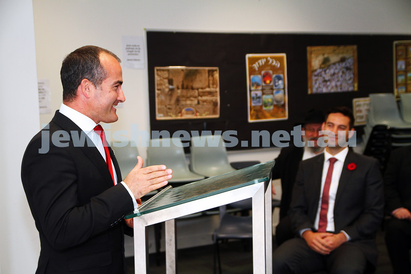 11-11-14. Labor candidate for Caulfield Josh Burns along with deputy leader of the opposition James Merlino were at Beth Rivkah Ladies College to announce new funding for Jewish schools. James Merlino making the announcement with Josh Burns looking on. photo: Peter Haskin