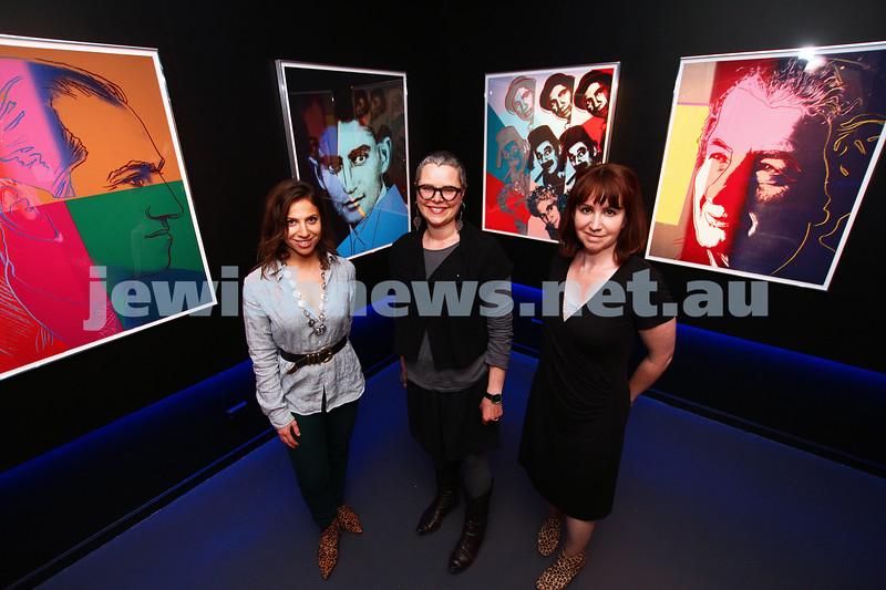 "17-11-14. Jewish Museum of Australia. Andy Warhol, ""Jewish Geniuses"".  From left: Adriana Gomberg, Rebecca Forgasz, Peta Cook. Photo: Peter Haskin"