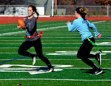 11/19/2016 Mike Orazzi | Staff Ashley Mcdonald and Peyton Greger during the 17th annual Powder Puff Football game at Bristol Central High School Saturday morning.