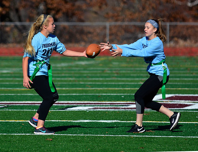 11/19/2016 Mike Orazzi | Staff Morgan Patnode and Haley Riley during the 17th annual Powder Puff Football game at Bristol Central High School Saturday morning.