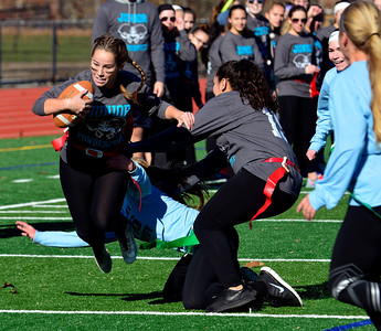 11/19/2016 Mike Orazzi | Staff Ashley Mcdonald during the 17th annual Powder Puff Football game at Bristol Central High School Saturday morning.