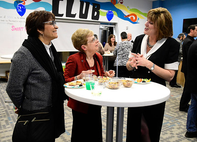 11/10/2016 Mike Orazzi | Staff Quota International of Bristol's Karrine Vanasse (right) talks with Carmen Burns and Anne Baltzell during Quota's 75th anniversary Diamond Jubilee Thursday night at the Bristol Boys & Girls Club.