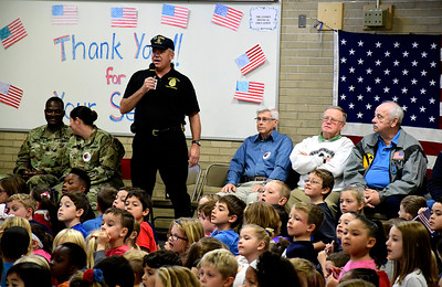 11/10/2016 Mike Orazzi | Staff U.S. Army Veteran Tom Lapointe introduces himself during the Edgewood School's Veterans Day program in Bristol Thursday morning.