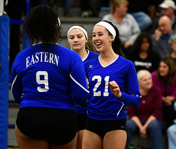 11/10/2016 Mike Orazzi | Staff Bristol Eastern's Sienna White (9) and Aliana Rivoira  (21) during the Class L Second Round State Girls Volleyball Tournament at Bristol Eastern Thursday night.