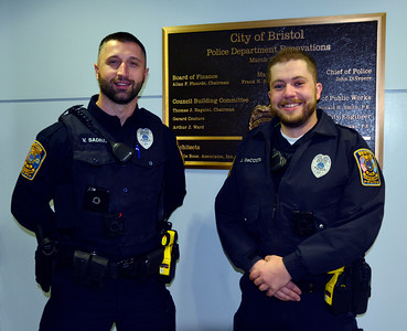 11/10/2016 Mike Orazzi | Staff Bristol Police Officers Vllaznim Sadriu and Jason DaCosta haven't shaved in the month of November.