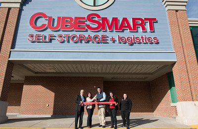 111016  Wesley Bunnell | Staff  Cube Smart self storage and logistics held their ribbon cutting on Thursday afternoon. In attendance were Business Development Director Bill Carroll, Mayor Erin Stewart, Cube Smart District Manager Jim Mattis, General Manager Janelis Rivera & Manager Alison Toro.