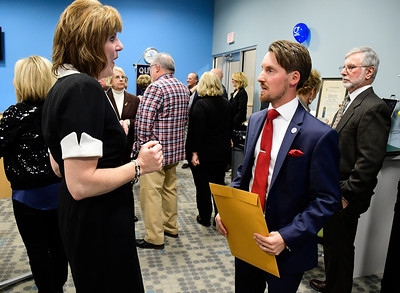 11/10/2016 Mike Orazzi | Staff Quota International of Bristol's Karrine Vanasse talks with city councilman Tony D'Amato during Quota's 75th anniversary Diamond Jubilee Thursday night at the Bristol Boys & Girls Club.