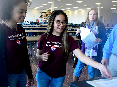 11/1/2016 Mike Orazzi | Staff Mariah Rodriguez and Ashely Santiago during the mock election held at Bristol Central High School Tuesday.