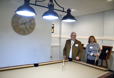 11/16/2016 Mike Orazzi | Staff Ed D'Amato and Lori D'Amato in the community room on above the Bristol Preschool Child Care Center inside the former Jennings School in Bristol Wednesday night during an open house.