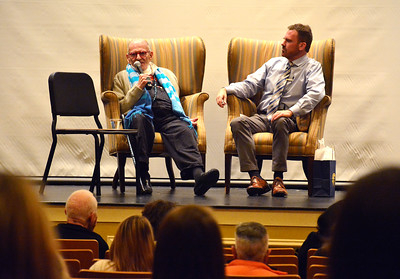 11/16/2016 Mike Orazzi | Staff Larry Kramer talks with William Mann  CCSU alumni and current lecturer in history William J. Mann '84 during a World AIDS Day event at Davidson Hall at CCSU Wednesday afternoon.