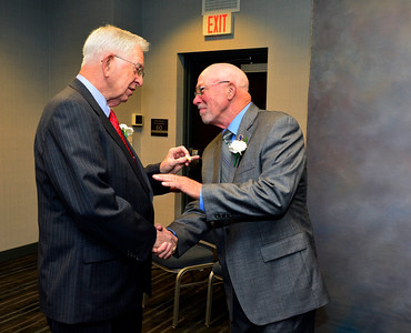 11/18/2016 Mike Orazzi | Staff Bernard E. O'Keefe and Steve Cowdell talk during the Bristol Sports Hall of Fame's 20th Annual Dinner for the Class of 2016 at the DoubleTree by Hilton Hotel in Bristol Friday night.
