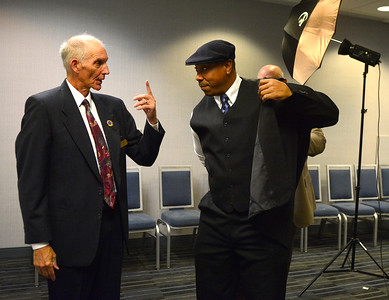 11/18/2016 Mike Orazzi | Staff Hank Lodge talks Bristol Sports Hall of Fame inductee Douglas Pina during the 20th Annual Dinner for the Class of 2016 at the DoubleTree by Hilton Hotel in Bristol Friday night.