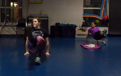 112116  Wesley Bunnell | Staff  Instructor Shelby Matus lead the Insanity class through its paces on Monday night at the New Britain-Berlin YMCA.  Since the merger of New Britain and Berlin many new classes have formed and are now taking place.  Shelby is shown on the left.
