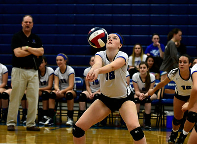 11/2/2016 Mike Orazzi | Staff Southington's Kelly Kritz (18) during the CCC Volleyball Tournament.